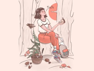 Finally trip nature forest mushroom girl woman animal drawing digitalart illustration