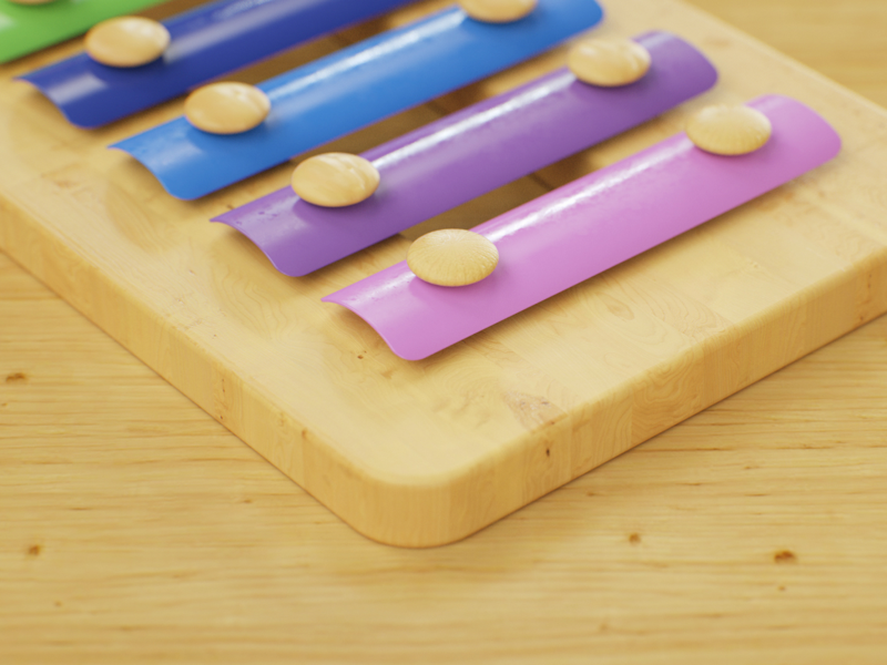 Colorful Music Toy wooden texture render cinema4d octane