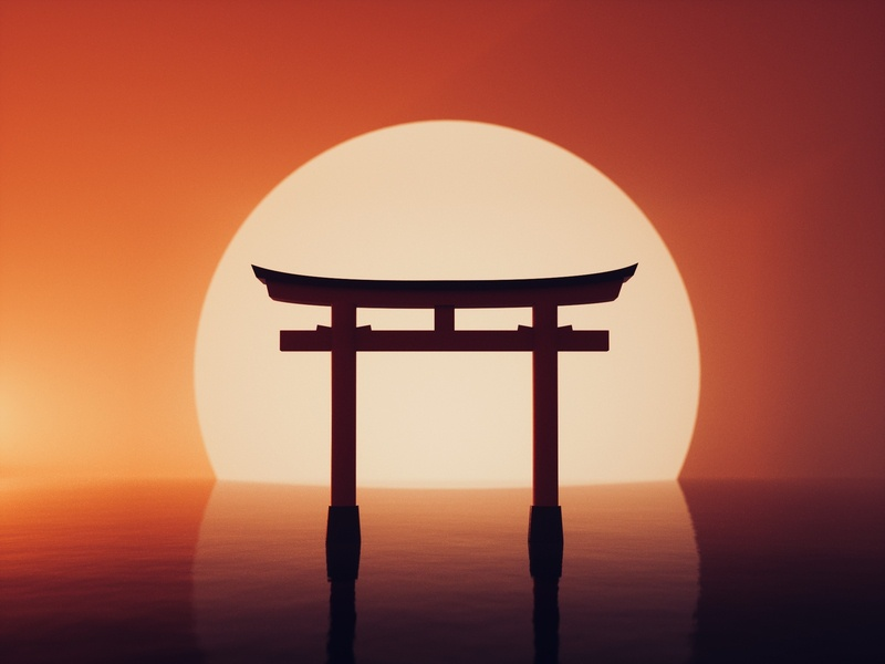 C4D Daily Exercise Torii Gate torii gate torii design japan china c4d octane cinema4d