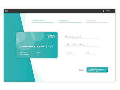 Credit card check out page