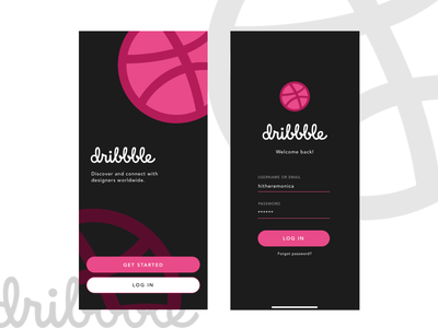 Dribbble Log In log in ui design