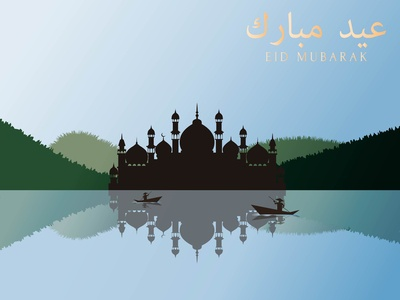 Eid Mubarak Flat Art Illustration 01