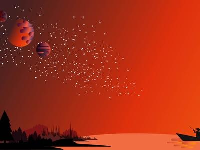 Fisherman Background On A Fantasy Island Planet 01