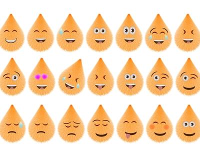 Funny Hairy Cartoon Emoji Set 01