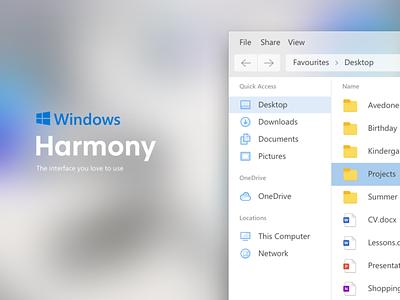 Windows harmony — Windows OS Redesign desktop app windows app desktop gui ui os