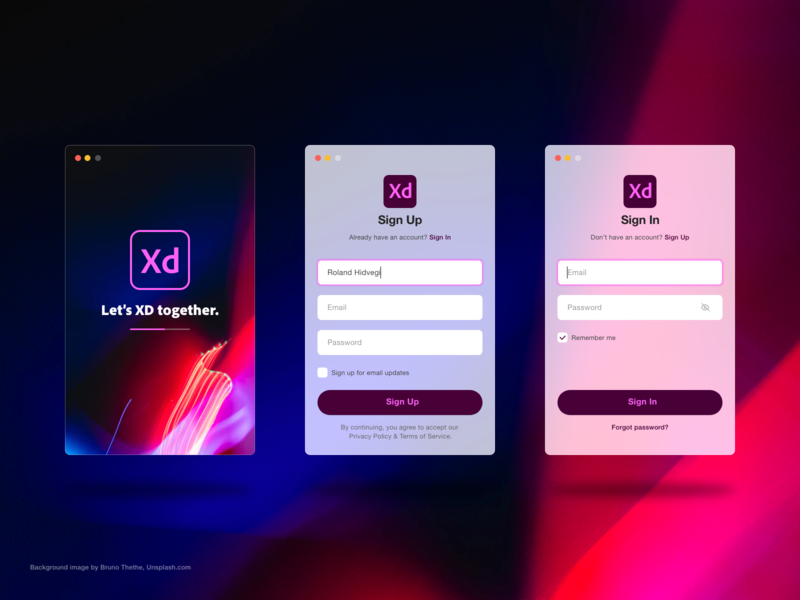 Sign Up interface - Adobe XD Playoff macos signup log in interface ui adobe xd adobe