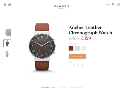 Skagen product page ui layout website product page watch skagen