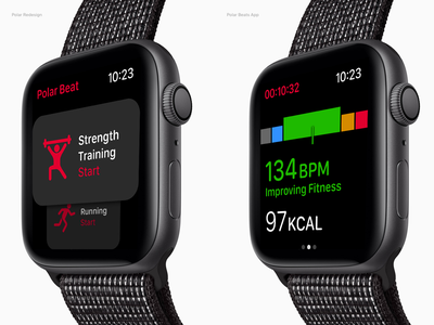 Polar Beats for Apple Watch interface layout concept application heart rate fitness apple watch redesign ui apple watch polar