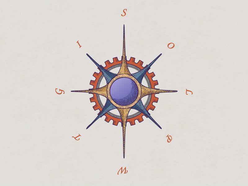 Compass rose branding logodesign illustration logo