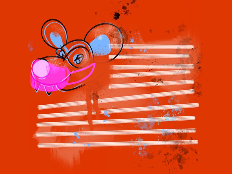 America Rat ipadpro ipad flag mouse rat american flag fourth of july america procreate art digital illustration procreate