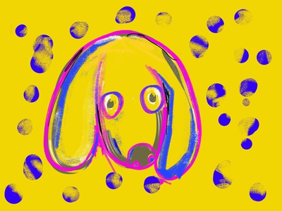 Yellow Doggone hound dog ipadproart ipad procreate art procreate dog art woof dog yellow texture brush design
