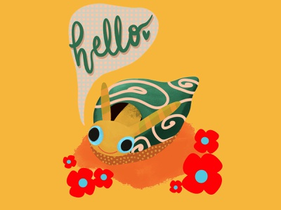 Ready 2 Play illustrator yellow hand letter hand lettering polkadots snail design ipad procreate illustration flat adobe illustrator
