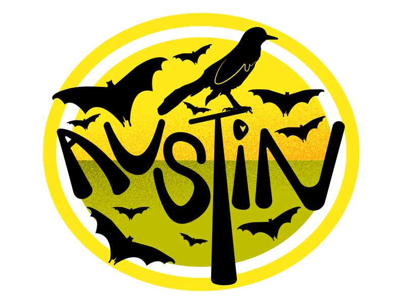 Austin yellow grackle bat flat minimal logo icon design adobe illustrator illustrator atx austin austin texas