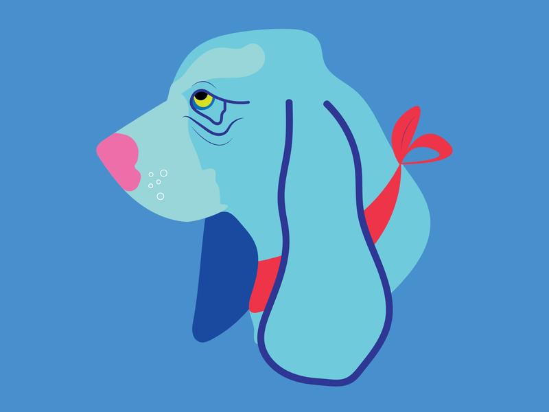 Basset en Bleu bff graphic design illustrator hound dog hound bandana blue dog dog woof basset hound basset design flat adobe illustrator