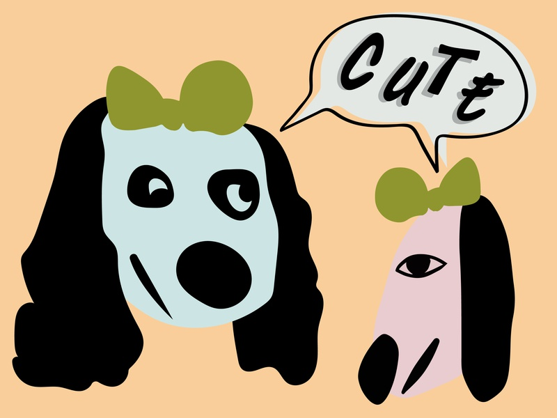 U Cute hairbow cute dog art woof peach hound dog dogs dog flat design adobe illustrator