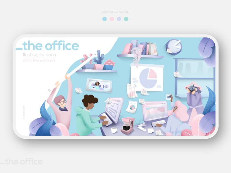 _The Office team team work coworking space illustration art teamwork coworking colors visual art digitalart typography art procreate illustration design