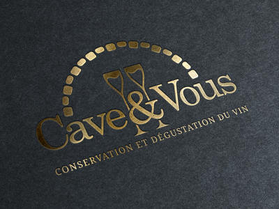 Cave & Vous logo logotype wine cellar glasses bottle