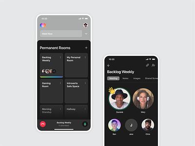 Around – Early iOS App Exploration fun meet lobby rooms attendees iphone exploration around interface dsgn meeting around app ios dark mode mobile app ui ux