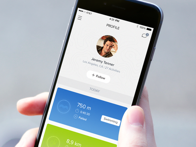 Profile mockuuups tracking ios app application icons sport mobile profile colors swimming walking