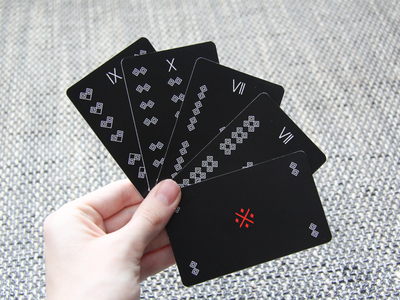 Playing Cards I. cicmany slovakia pattern photo print dark red symbols tradition card game playing cards