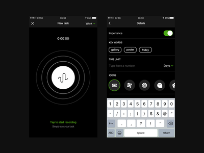 New Task app ios dark ui icons sound recording timer mobile ux new task key words