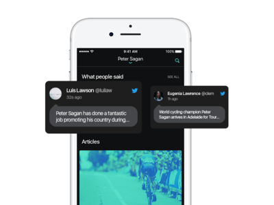 Media Screen famous person twitter iphone concept green ux ios app ui dark articles media