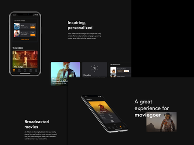 Cinema App – Case Study movies app icons mobile ux case study behance dark ui tickets cinema