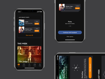Cinema App – Feed dsgn cinema app concept movie tip post feed mobile concept dark ux ios ui app