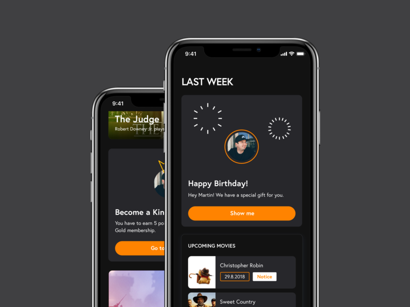 Cinema App – Personalized feed birthday post cinema app concept personalization movies cinema iphone dsgn feed concept dark ux mobile ui ios app