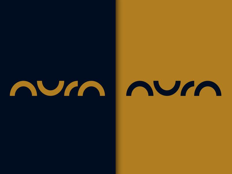 The Aura flat typography minimal branding logo design