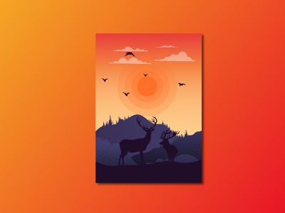 Landscape flat illustration minimal design