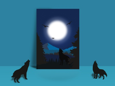 Wolf flat mockup vector illustration minimal design