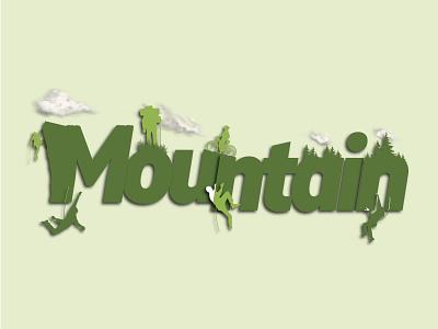 Mountain typography vector illustration flat minimal logo design