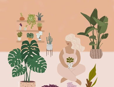 plant lady webdesign palm plantlover cactus banana pilea coleus illustrator cc monstera plantaddict plantlady photoshop illustrator icon branding logo graphic design design illustration