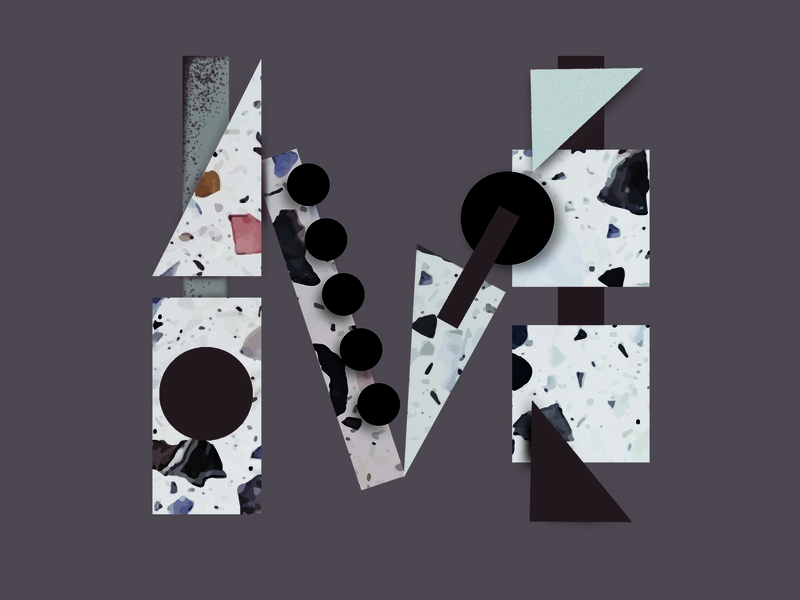 Letter M stone artwork painting letter m terrazzo abstract letter geometric letter design icon logo design 36 days of type type logotype graphic design drawing design typography lettering illustration