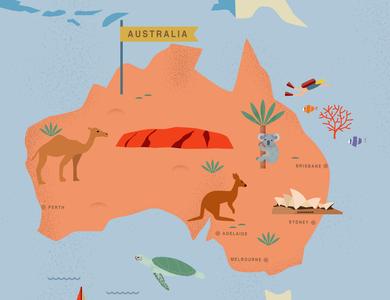 Australia aussie maps map animals logo kangaroo koala animals nature bushfire graphic design design drawing illustration australia