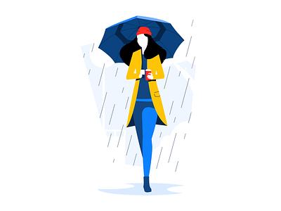 Walking in the rain vector ui simple minimal lines illustration flat dribbble drawing digital design creative colorful color clean character artwork art 2d