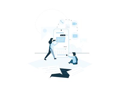 Messaging people web ui minimal flat drawing digital app color clean 2d vector art creative design illustration