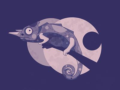 Chameleon monochromatic vector ui texture simple nature minimal line illustration graphic flat drawing digital design dark creative color clean art animal