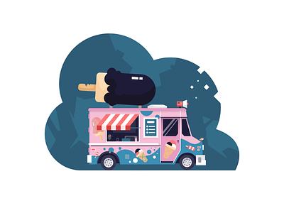 Ice Cream Truck theme web vector ui simple shapes minimal illustration fun flat drawing digital design creative color clean car art 2d
