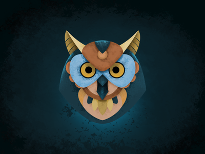 Owl illustration theme vector simple nature illustration graphic fun dribbble drawing design dark creative colors color blue art abstract animal 2d