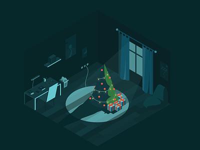Christmas illustration room tree vectorart vector simple minimal isometric drawing digital design creative colorful color christmas ui illustration art