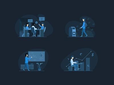 Team Work & Finance Illustrations Pack drawing web vector ui social minimal illustrator illustration flat dribbble digital design color clean character blue artwork art adobe illustrator 2d
