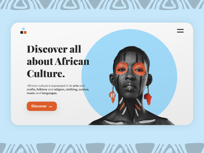 African Culture - Landing Page woman user interface userinterface uidesign ui discovering cuisine religion website landing page design landing page landing facepaint tradition fashion culture african culture african woman africa