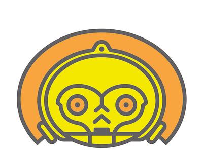 C3PO gold starwars illustration adobe c3po disney headshot portrait geometric robot droud cute