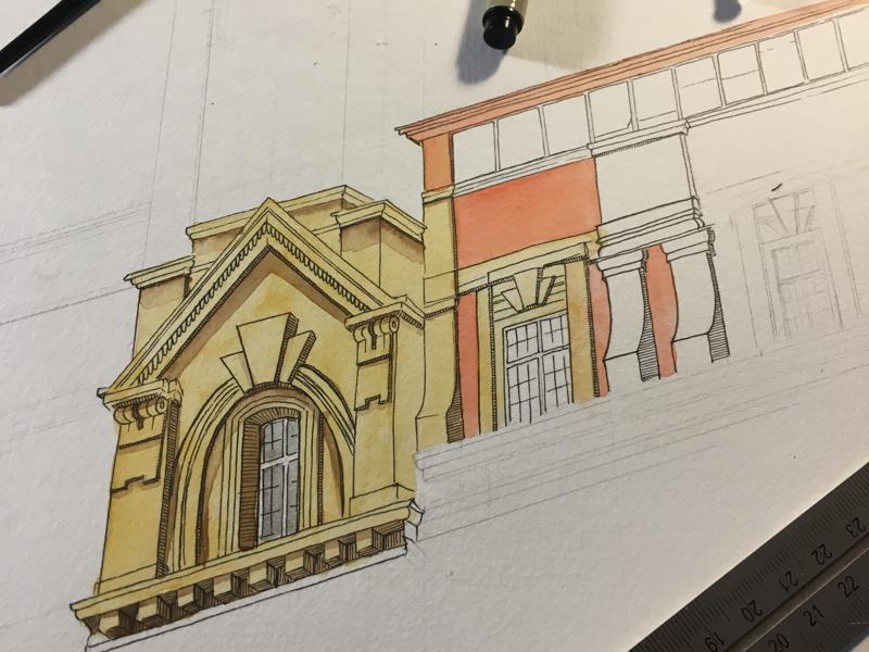 Drawing process watercolor micron