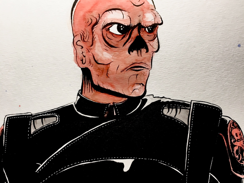 Red Skull pen and ink captain america red skull watercolor