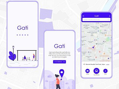 Gati : City bus app concept adobe xd navigation maps cab ui ux bus app