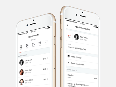 Appointments list price calendar white ux ui design application mobile iphone ios appointment