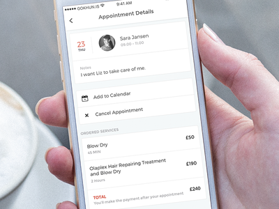 Appointment Detail list price calendar white ux ui design application mobile iphone ios appointment